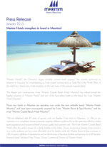 Maritim Hotels strengthen its brand in Mauritius!