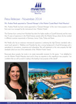 Ms. Andrea Nestle appointed as 'General Manager' of the Maritim Crystals Beach Hotel Mauritius!
